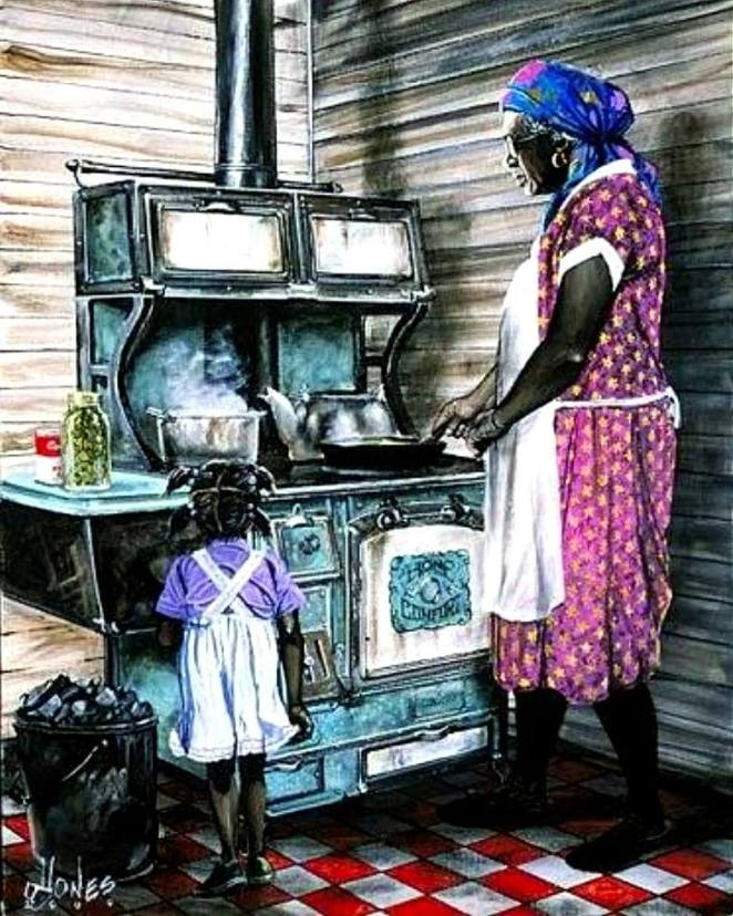 Grandma-grandchild at stove via Katheren Branch